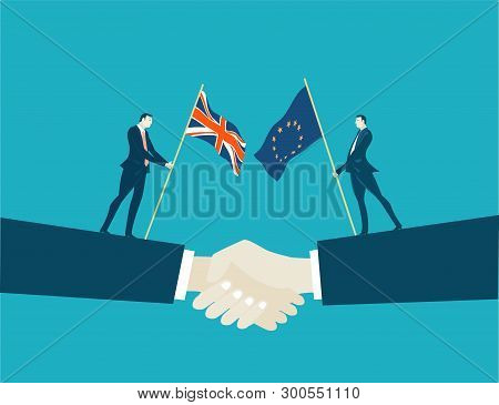 Successful Negotiation Of The Deal. Future Business Opportunity After Brexit. Business Concept Illus