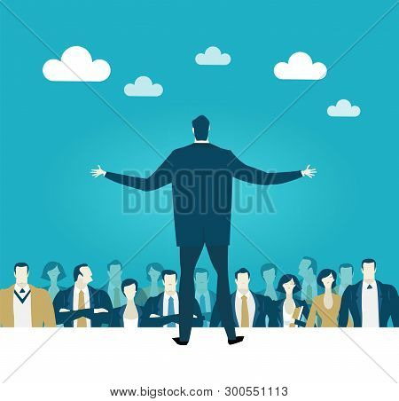 Businessman Speaking Informs Of The Audience. Meeting, Promotion, Advertisement Concept