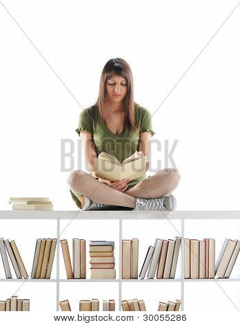 Female Student Portrait, Read A Book On Library. Similar Photo On My Portfolio