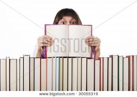 Young Woman Holding An Open Book . Pages Are Blank