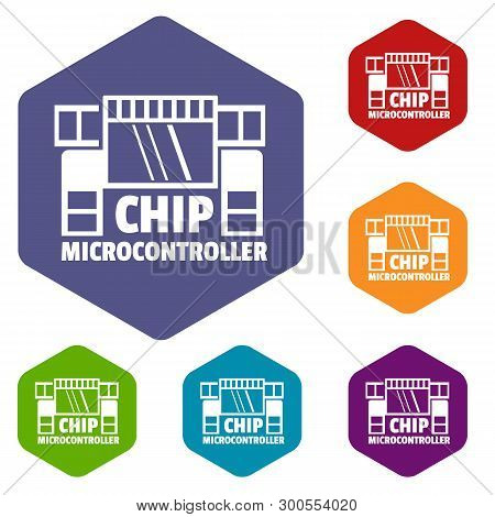 Chip Microcontroller Icons Vector Colorful Hexahedron Set Collection Isolated On White