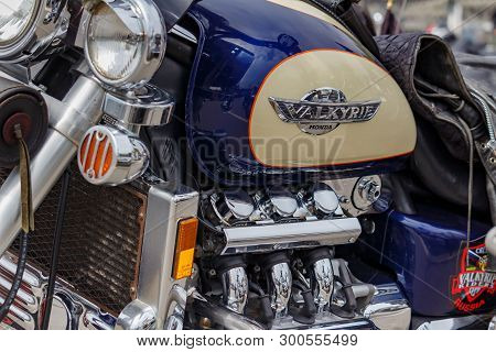 Moscow, Russia - May 04, 2019: Glossy Fuel Tank With Honda Valkyrie Emblem And Chromed Engine Closeu