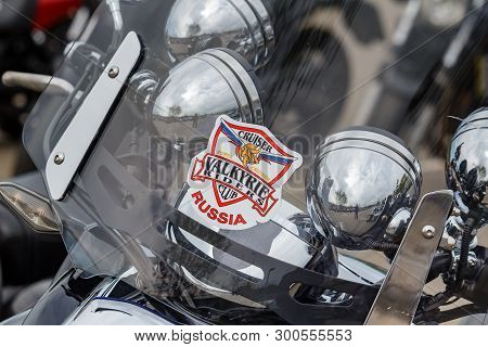 Moscow, Russia - May 04, 2019: Emblem Of Valkyrie Riders Club On Transparent Windproof Shield Of Hon