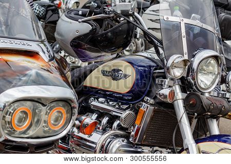 Moscow, Russia - May 04, 2019: Honda Valkyrie Motorcycles In The Parking Closeup. Moto Festival Mosm