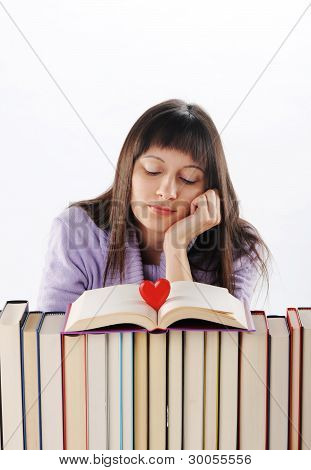 Young Woman Dreaming About Love And Romance