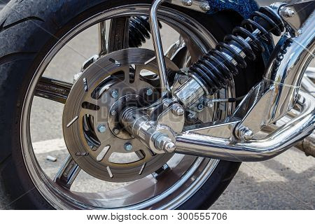 Moscow, Russia - May 04, 2019: Chromed Front Wheel With Disc Brake System And Shock Absorbers Of Boo