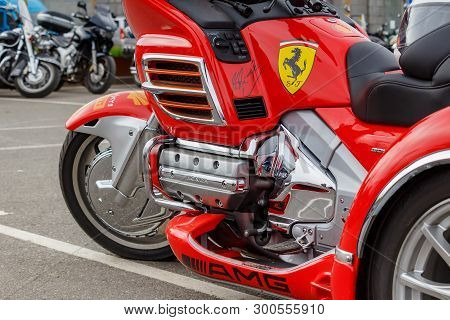 Moscow, Russia - May 04, 2019: Tourist Trike Honda Gold Wing In Bright Red Plastic Body Kit And Chro