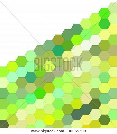 3D Render Of Hexagon In Green On White