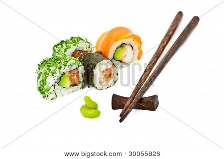 Sushi Set Isolated On White With Chopsticks, Horizontal