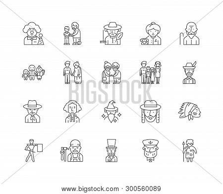 Ancestry Line Icons, Signs, Vector Set, Outline Illustration Concept