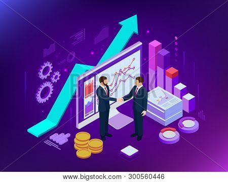 Isometric B2b Sales Method. Partners Shaking Hands. Successful Entrepreneurs. Data And Key Performan
