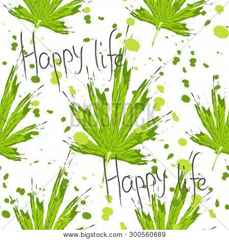 Seamless Pattern With Leaves Of Hemp Or Marijuana Or Hashish Or Marijuana Leaf, Cannabis Plant. Vect