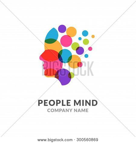 Human Head Face Logo, Creative Brain Man. Digital Profile Face Innovation Intelligence Mind Design L