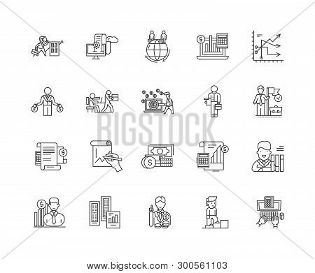Audit And Auditors Line Icons, Signs, Vector Set, Outline Illustration Concept