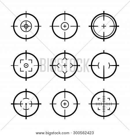 Target Aim Icons Military Set. Crosshair Target Weapon Sniper Army Sight For Gun Or Rifle