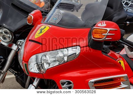 Moscow, Russia - May 04, 2019: Headlights In Bright Red Windproof Shield Of Tourist Trike Honda Gold
