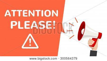 Attention Megaphone Vector Information Announcement. Important Attention Please Alert Poster