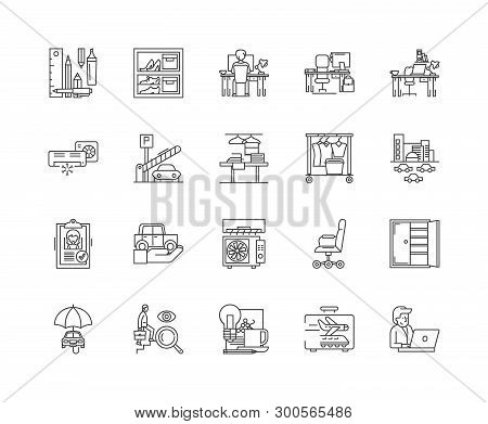 Business Accomodation Line Icons, Linear Signs, Vector Set, Outline Concept Illustration
