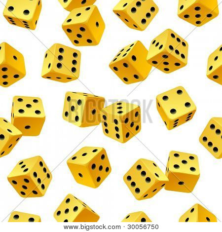 Vector yellow dice seamless background isolated on white