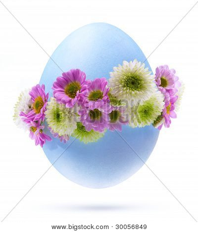 Art Easter Egg Decorated By Flowers Isolated On White Background