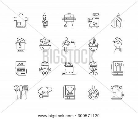 Cookery Concept Line Icons, Signs, Vector Set, Outline Illustration Concept