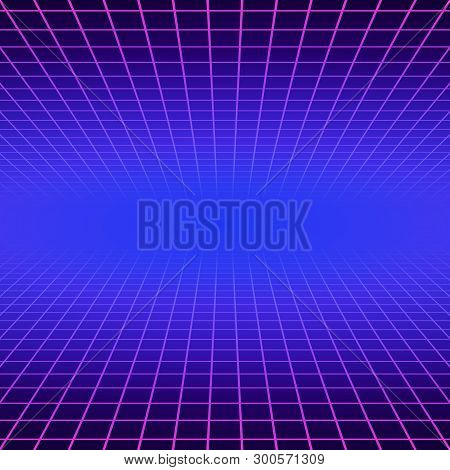 Synth Wave Retro Grid Background. Synthwave 80s Vapor Vector Game Poster Neon Futuristic Laser Space