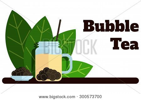 Bubble Tea Banner With Tea Leaves Vector Flat Labels