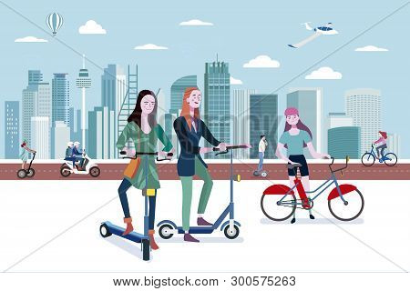 Green Transport In A Smart City. People Riding Eco Transport Vehicles In An Smart And Modern City. E