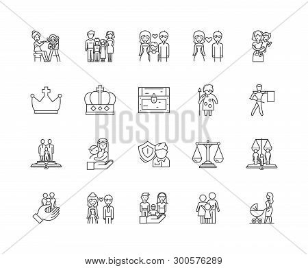 Family History Line Icons, Signs, Vector Set, Outline Illustration Concept