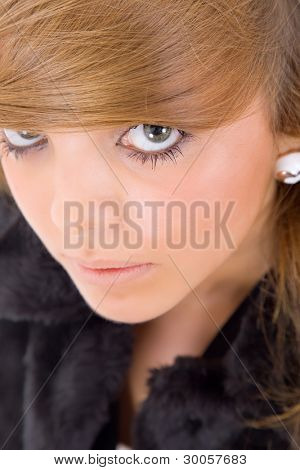 young happy beautiful woman close up portrait
