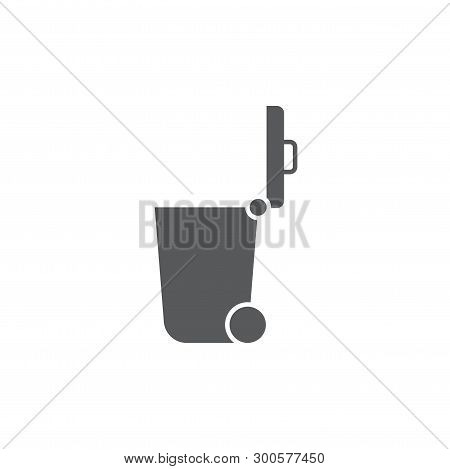 Trash Can Vector Icon On Flat Color Design Isolated On White