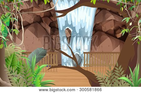 Landscape Of Wooden Walkway At Waterfall In The Jungle