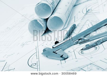 The Plan Industrial Details,  Caliper, Divider And A Pencil