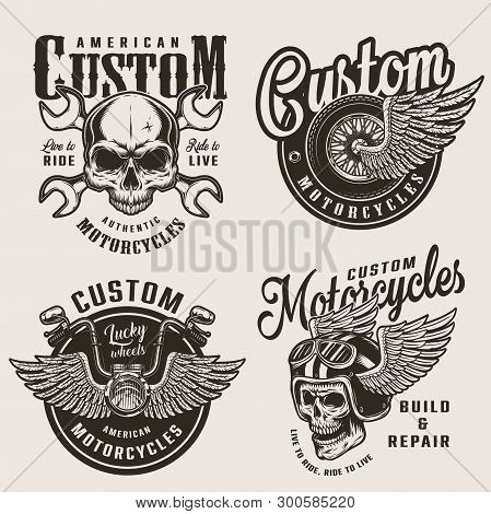 Vintage Custom Motorcycle Emblems With Motorcyclist Skull In Winged Helmet Crossed Wrenches Winged W