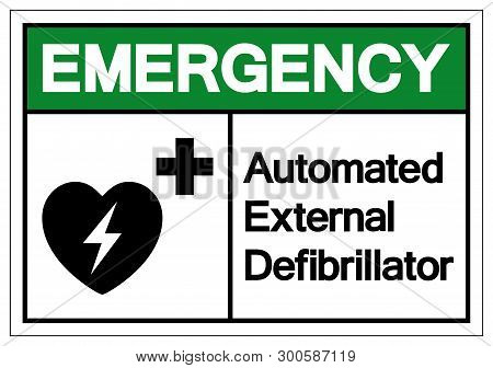 Emergency Aed Automated External Defibrillator Symbol Sign, Vector Illustration, Isolate On White Ba