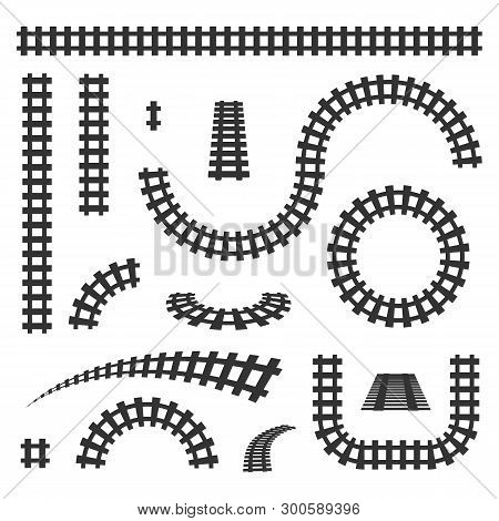 Creative Vector Illustration Of Curved Railroad Isolated On Background. Straight Tracks Art Design.