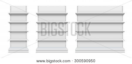 Creative Vector Illustration Of Empty Store Shelves Isolated On Background. Retail Shelf Art Design.
