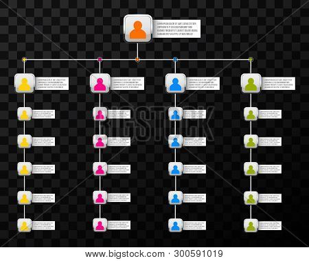 Creative Vector Modern Style Illustration Corporate Organizational Chart Slide Of Isolated On Backgr
