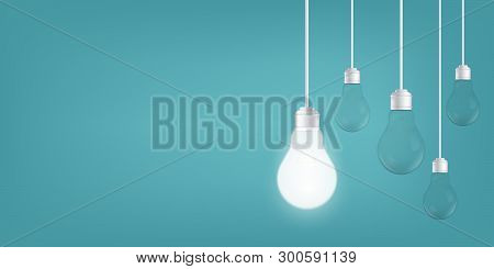 Creative Vector Of Isolated Light Bulbs On Background. Art Design Illustration New Ideas With Innova
