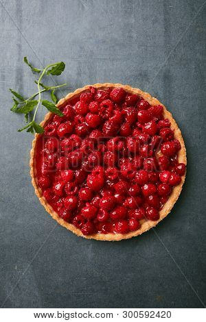 Raspberry pie on a stone surface