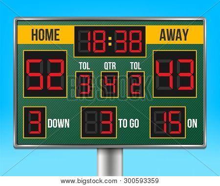 Creative Vector Illustration Of American Football Scoreboard With Infographics Isolated On Transpare