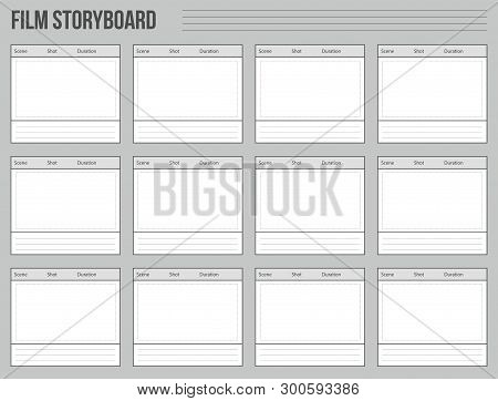 Creative Vector Illustration Of Professional Film Storyboard Mockup Isolated On Transparent Backgrou