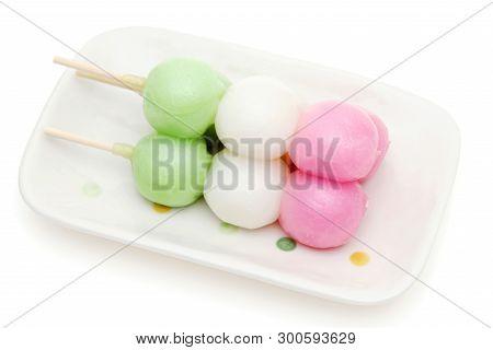 Japanese Traditional Sweets Sanshoku Dango On White Background