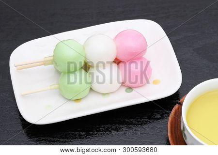 Japanese Traditional Confectionery Sanshoku Dango On White Background