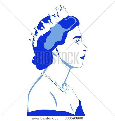 May, 2019, London, Uk: Vector Illustration, Portrait Of Queen Elizabeth Ii