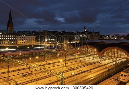 Panorama Of Malmo With Central Station. Malmo, Scania, Sweden.