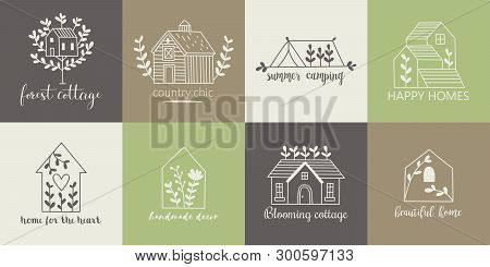 House, Home, Cottage And Farm Logo Template With Hand Drawing Icons