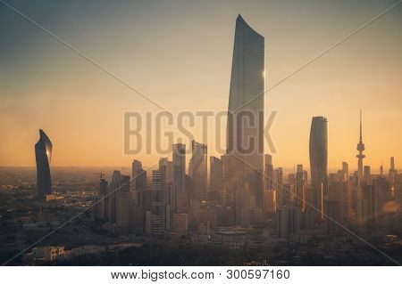 Architecture Of Kuwait City At Sunset. Kuwait City, Kuwait.
