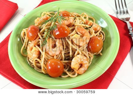 Freshly Cooked Spaghetti With Shrimp