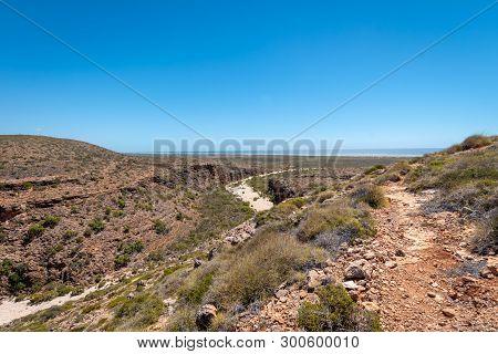 View From The Mandu Mandu Gorge At Cape Range National Park Towards The Indian Ocean In Australia